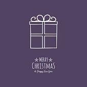 Design of Christmas greeting card with with hand drawn present. Vector.