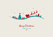Design of Christmas postcard with wishes and Santa Claus. Vector.