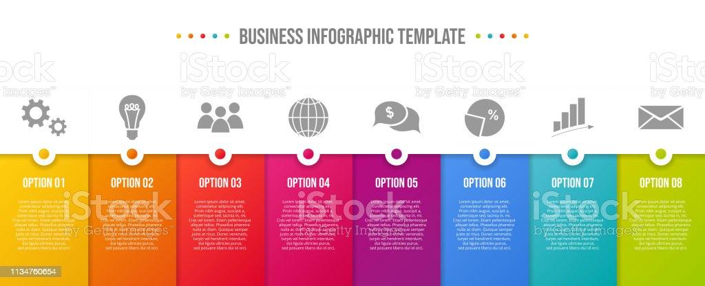 Design of colorful company infographic with icons. Vector - Grafika wektorowa royalty-free (Bez ludzi)