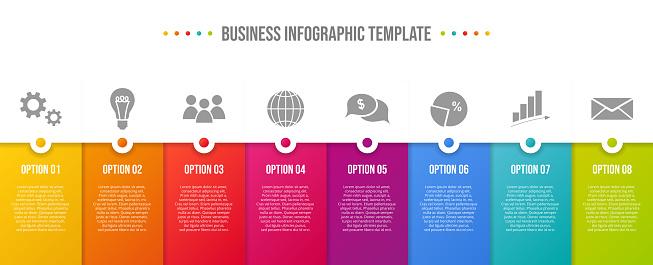 Design Of Colorful Company Infographic With Icons Vector - Stockowe grafiki wektorowe i więcej obrazów Bez ludzi