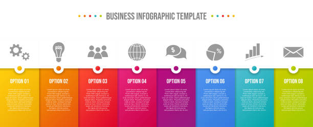 design of colorful company infographic with icons. vector - pojedynczny stopień stock illustrations