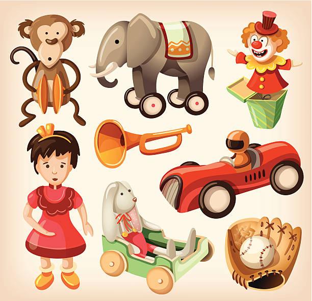 stockillustraties, clipart, cartoons en iconen met design of colorful vintage children's toys - cimbaal