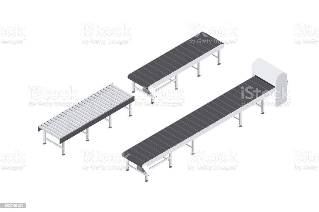 Design of conveyor belts and rollers equipment set for the industry. isometric vector illusration