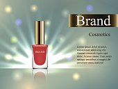Design of cosmetics, beige nail polish with an angled cap on a gentle background with bright rays. Advertising, banner, glamor, luxury, 3d vector realistic