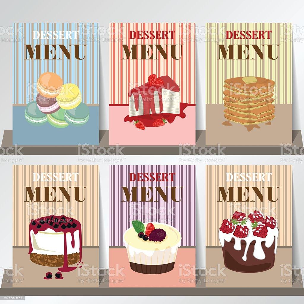 Design Of Dessert Menu With Blueberry Cheese Cakepiestrawberry