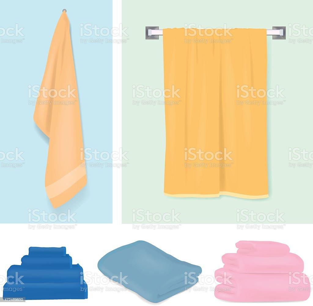 Design of different color towels vector art illustration