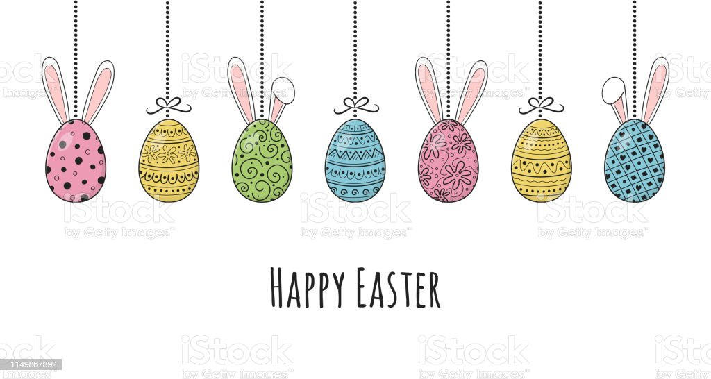Design Of Easter Banner With Hand Drawn Eggs And Bunnies Vector Stock  Illustration - Download Image Now - iStock