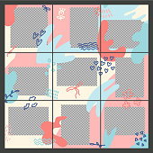 Design of editable social network post templates. Valentine's day themw for marketing on social media. frames, stories in puzzles, backgrounds, banners. Vector illustration elements.