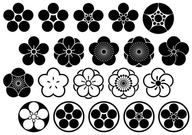 Design of family crest Design of family crest plum blossom stock illustrations