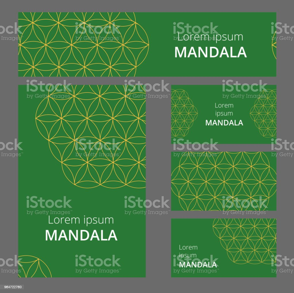 Design of flyers, banners, brochures and cards with floral geometryl elements. Corporate Identity, Advertising printing. Vector illustration. Set royalty-free design of flyers banners brochures and cards with floral geometryl elements corporate identity advertising printing vector illustration set stock vector art & more images of abstract