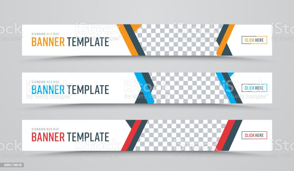 Gestaltung der horizontale Vektor weißen Banner der Standardgröße mit einem Platz für Fotos – Vektorgrafik