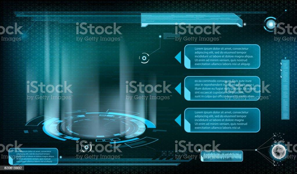 Design of HUD menu user interface. vector art illustration