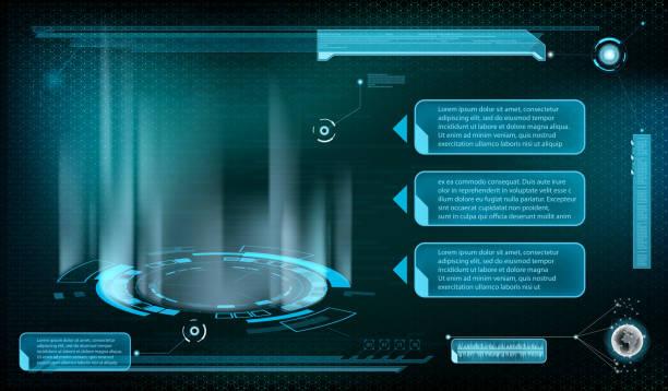 ilustrações de stock, clip art, desenhos animados e ícones de design of hud menu user interface. - hologram