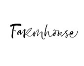 Design of ink farm house phrase. Ink illustration. Modern brush calligraphy. Isolated on white background.