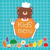 Design of kids menu with cute bear chef