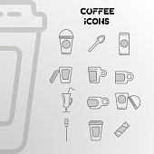 Design of linear icons on the coffee theme. A set of cups, spoons, glasses. Vector illustration