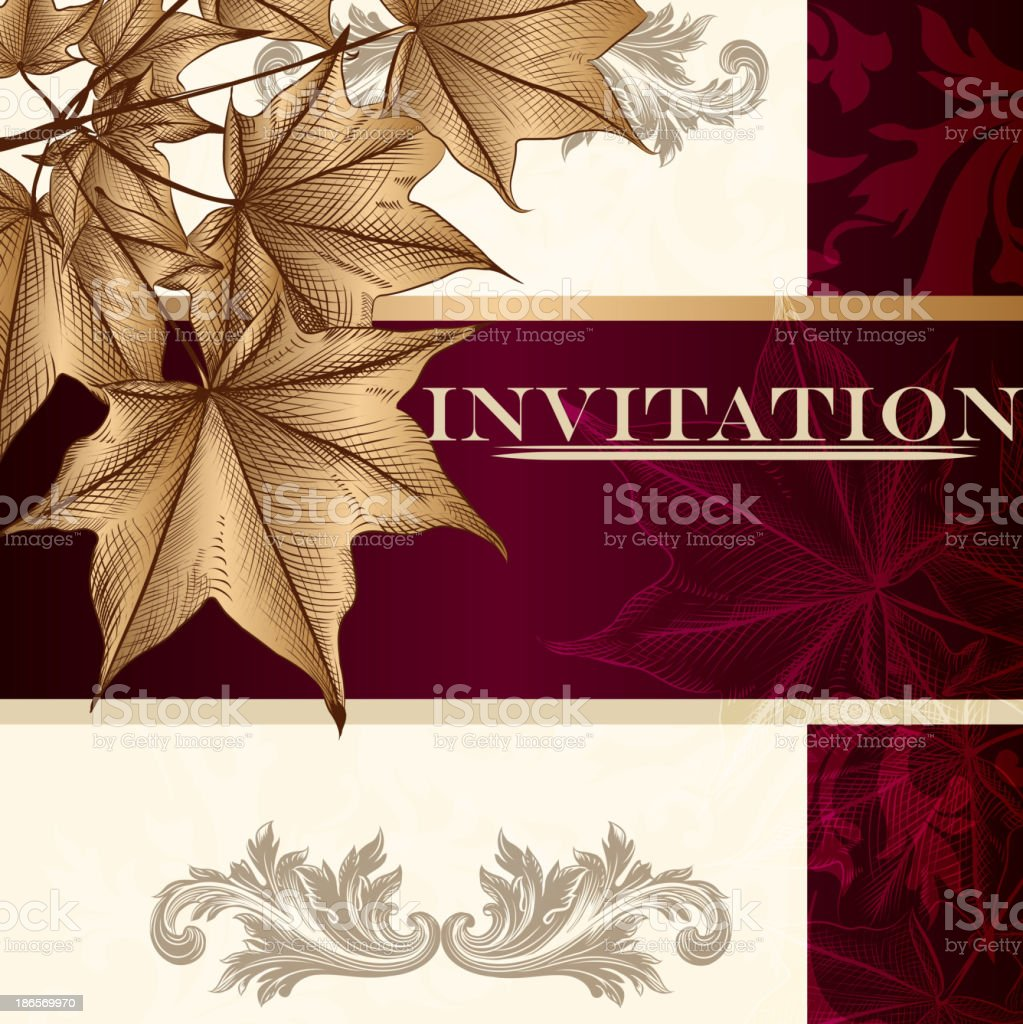 Design of luxury invitation card in vintage style royalty-free stock vector art