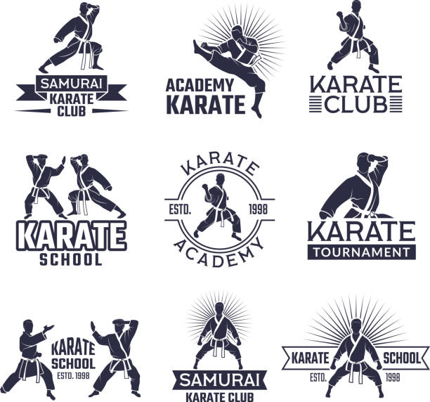 design of martial sport labels set. monochrome badges set isolate on white - martial arts stock illustrations