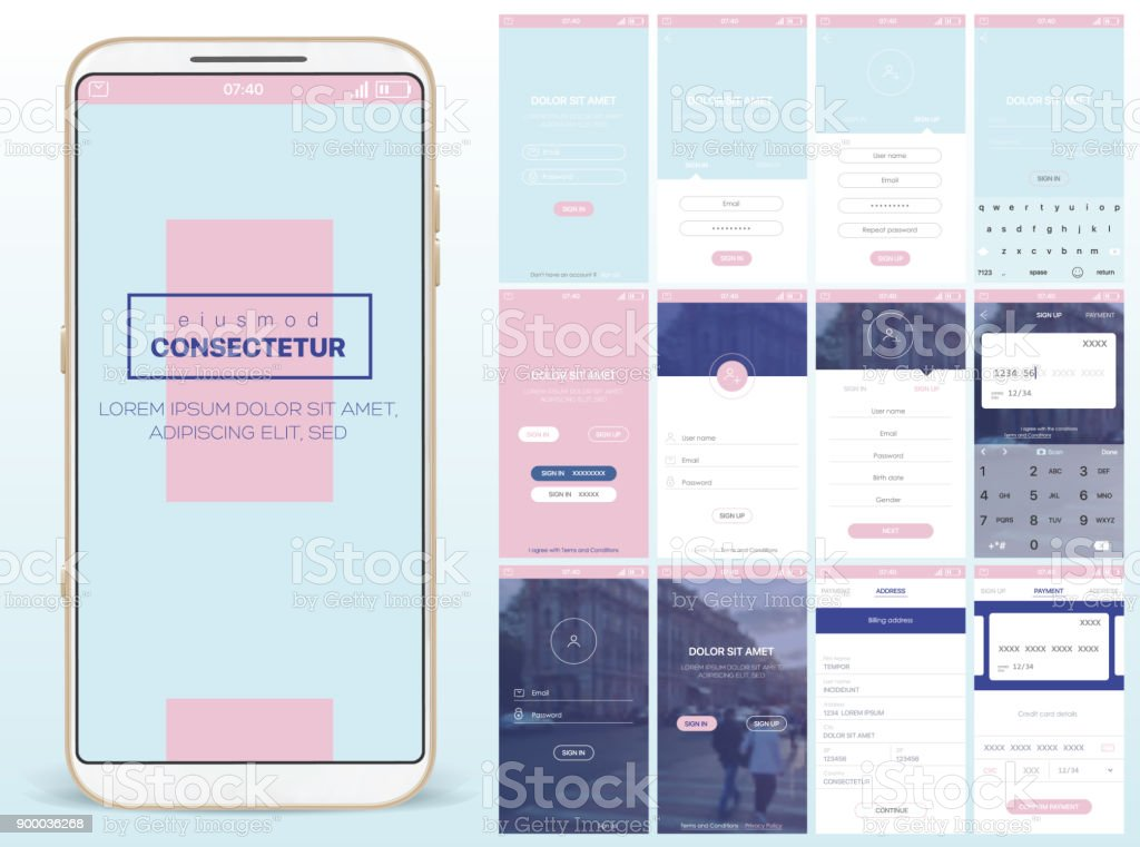 Design of mobile applications vector art illustration