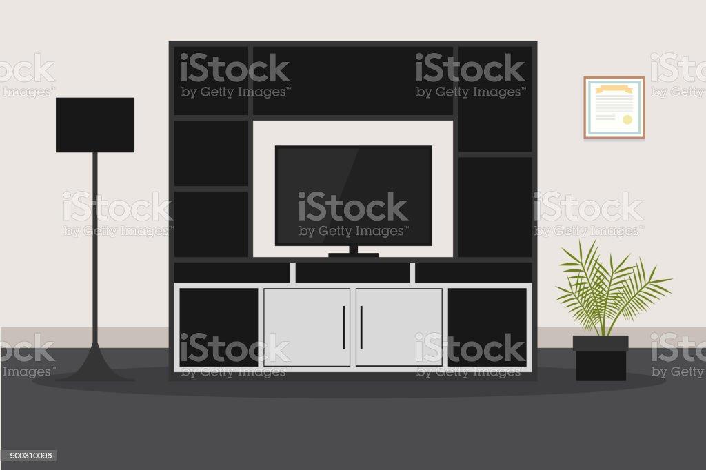 Design Fur Moderne Mobel Fur Wohnzimmer Mit Tv Stock Vektor Art Und