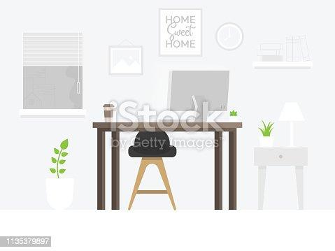 istock Design of modern home office designer workplace 1135379897