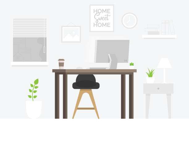 design of modern home office designer workplace - working from home stock illustrations