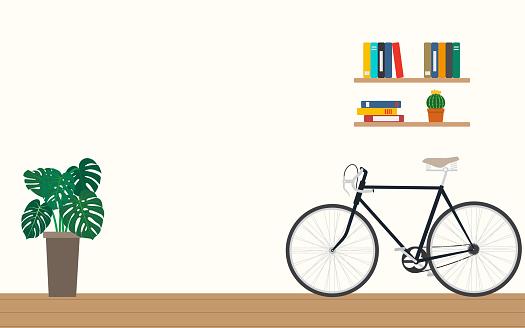 Design of modern home office workspace room interior - Vector illustration