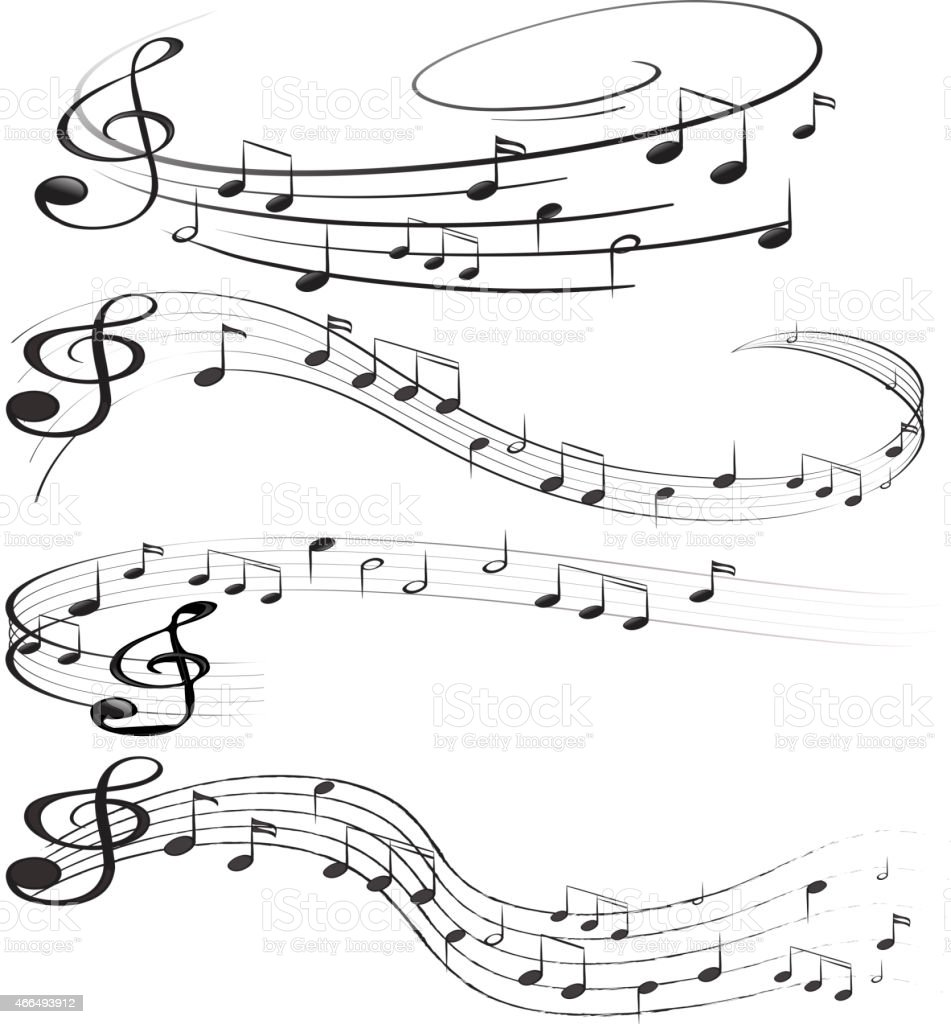 Design of musical notes drawn out on an empty sheet vector art illustration