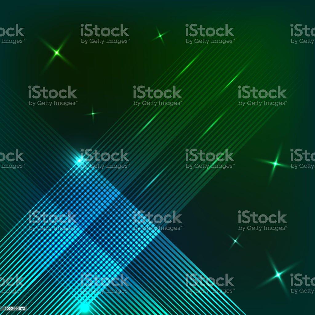 Diseño de líneas abstractas de neón sobre un fondo oscuro. Plazas de neón de líneas. Ilustración de vector - ilustración de arte vectorial