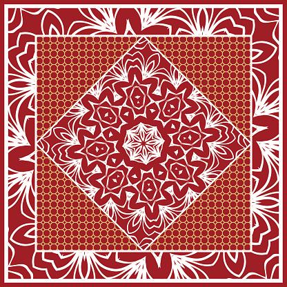 Design of Scarf with Mandala Flower Pattern. Vector illustration. Red color. For Print Bandana, Shawl, Carpet