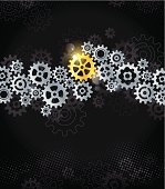 Background with silver gears and the essential golden gear.