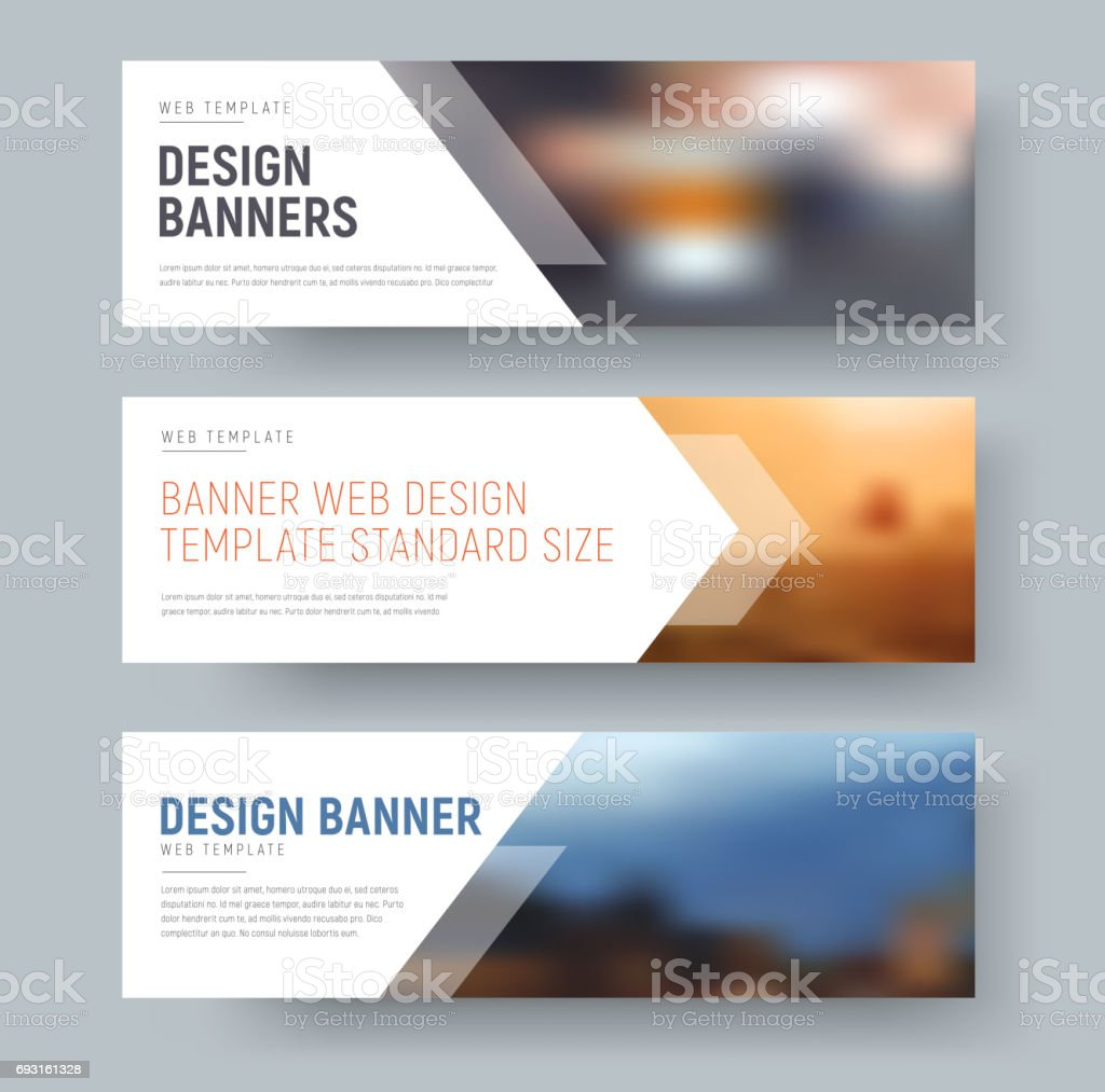 Design of standard horizontal web banners with space for photo and text. vector art illustration