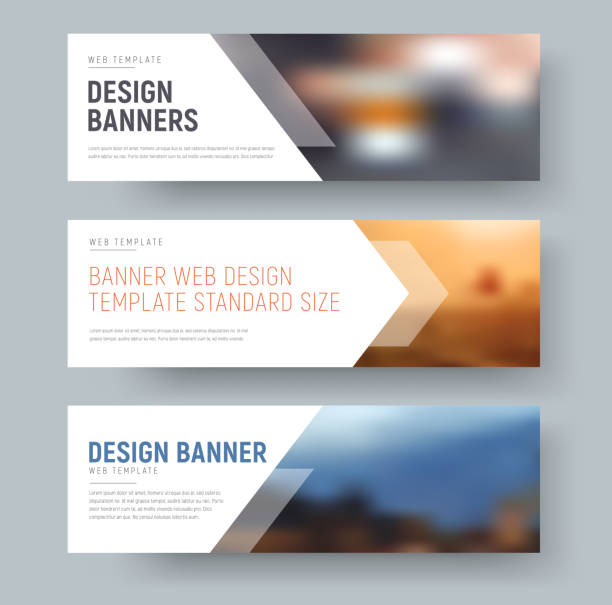 design of standard horizontal web banners with space for photo and text. - three shapes stock illustrations, clip art, cartoons, & icons