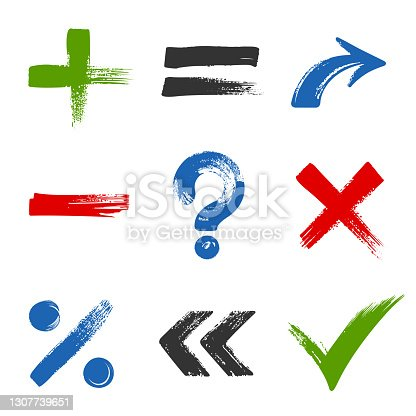 istock Design of symbols - check list marks, choice options, test, quiz or survey signs. 1307739651