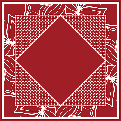 design of tablecloth from lace pattern. red color. vector illustration. for scarf, Carpet, Pillowcase.