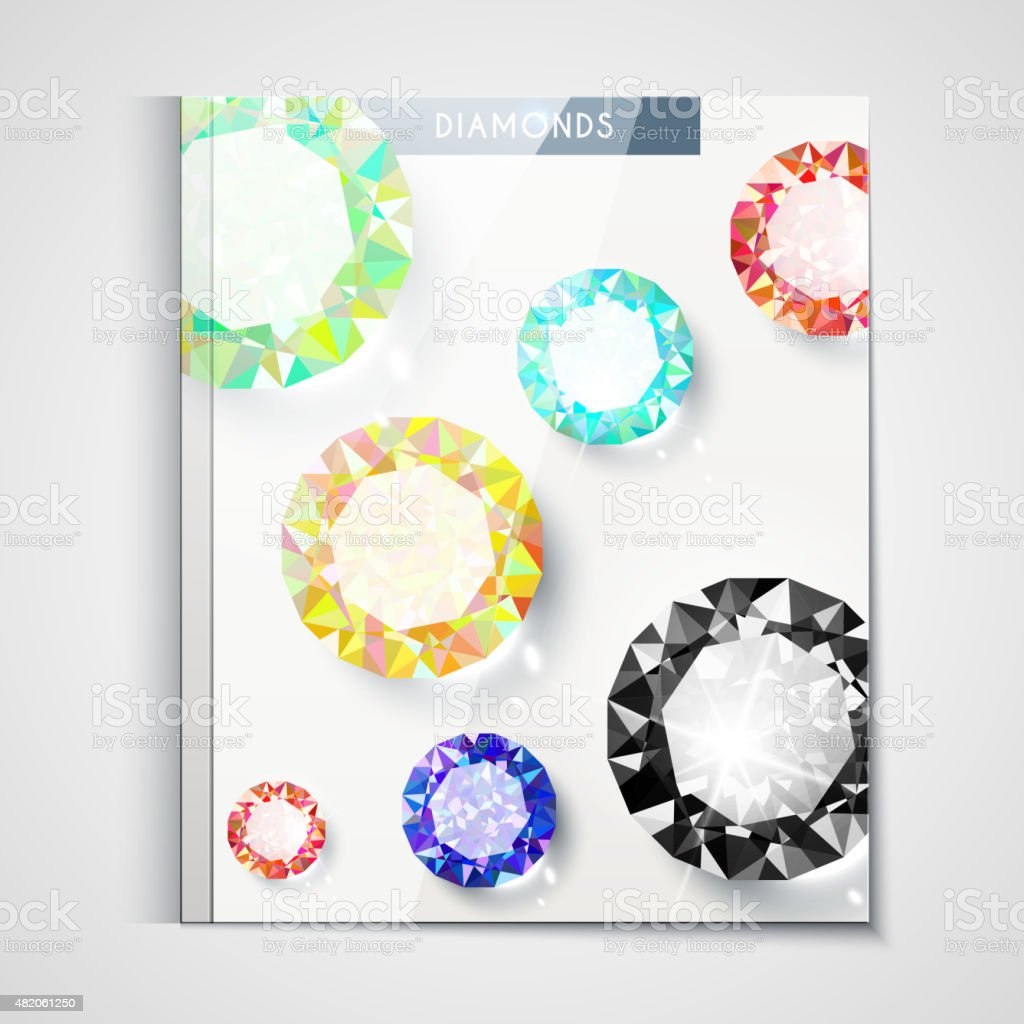Design of the catalog cover with large diamonds vector art illustration