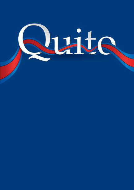 design of the city of quito with blue and red flag. - alejomiranda stock illustrations