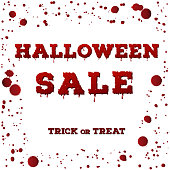 Design of the flyer with Halloween sale inscription on white background. Template of poster with red spots, drips and splashes and bloody font. Vector illustration