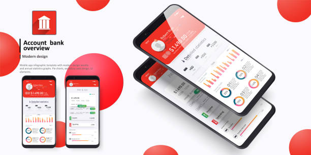Design of the mobile app UI, UX. A set of GUI screens for mobile banking.Online statistics and data Design of the mobile app UI, UX. A set of GUI screens for mobile exchange rate stock illustrations
