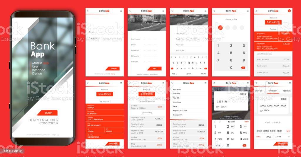 Conception de l'application mobile UI, UX. Un ensemble d'écrans GUI pour les services bancaires mobiles - Illustration vectorielle