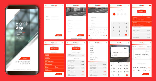 Design of the mobile app UI, UX. A set of GUI screens for mobile banking vector art illustration