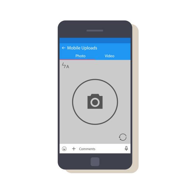 bildbanksillustrationer, clip art samt tecknat material och ikoner med design av mobila application interface. skärmen på den nya bilden. flat vektorillustration med skugga isolerad på vit bakgrund. - profile photo