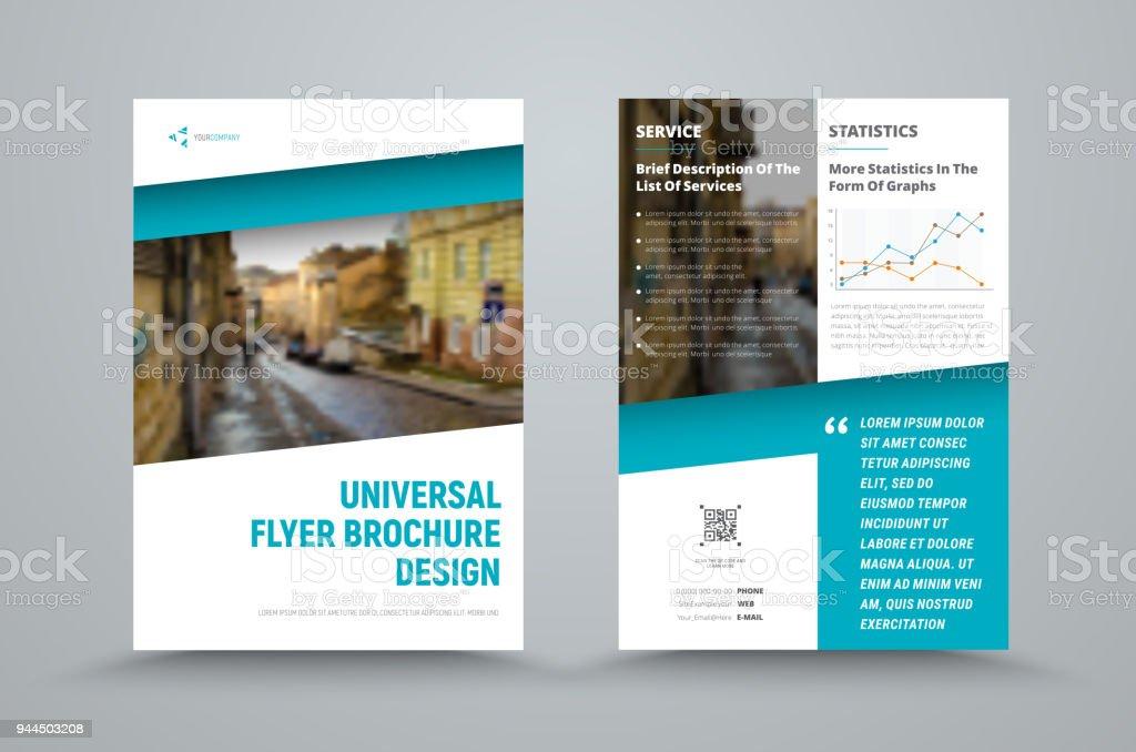 Gestaltung der universellen Vektor-Broschüre mit dem diagonal blau und der Platz für das Foto – Vektorgrafik