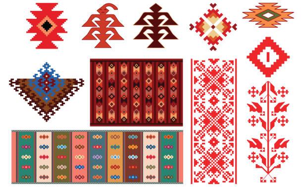 stockillustraties, clipart, cartoons en iconen met ontwerp van traditionele bulgaarse tapijten en folkloristische elementen - bulgarije