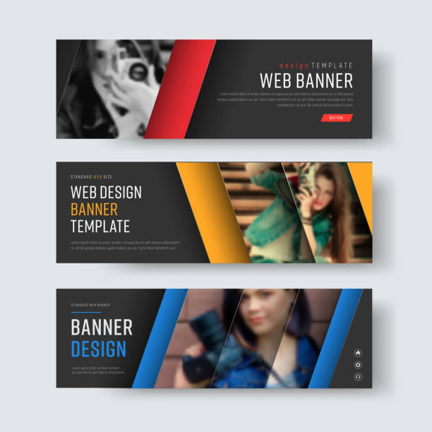 Design of vector black banners with diagonal colored lines and a place for photos. vector art illustration