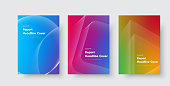 Design of vector minimalistic covers with gradient and geometric intersecting line shapes. Templates for general reports, books, booklets and flyers. Set