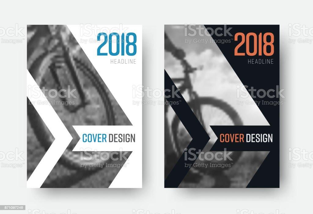 Design des Vektors, weiße und schwarze deckt des Berichts 2018 in einem minimalistischen Stil – Vektorgrafik