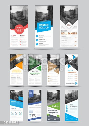 Design of vector white roll-up banners with round, square, diagonal and triangular design elements and a place for photos. Universal template for business and advertising.