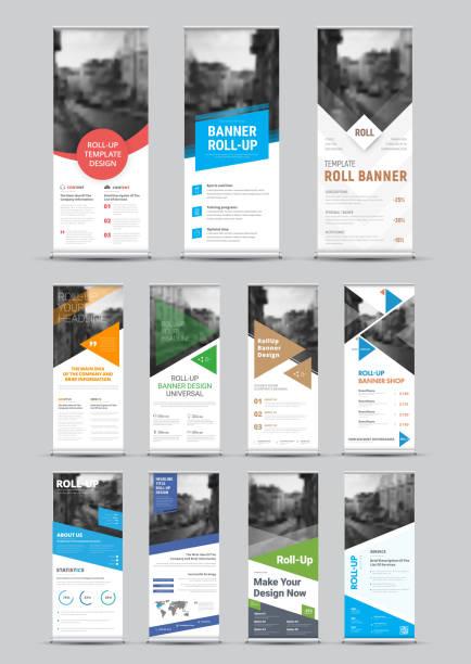 帶圓形、方形、對角線和三角形設計項目的向量白卷橫幅設計及照片位置 - 垂直構圖 幅插畫檔、美工圖案、卡通及圖標