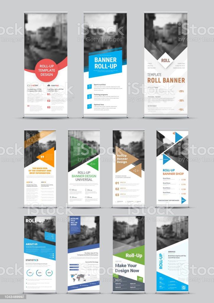 Design Vektor weiße Roll-up Banner mit runden, quadratischen, Diagonalen und dreieckige Designelemente und ein Ort für Fotos – Vektorgrafik